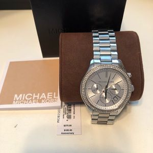Michael Kors Accessories - Michael Kors Silver watch with crystal face